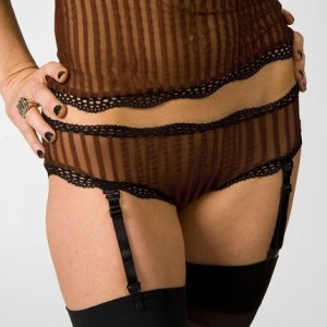 Sheer coffee colored camisole and panties with garters