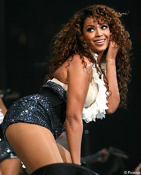 Beyonce in stockings and garters