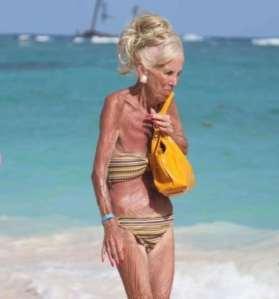 Hunched old Lady in a bikini